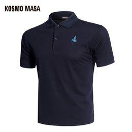 Solid Black Shirt For Men Australia - Kosmo Masa Cotton Black Shirt Mens Short Sleeve 2018 Summer Casual Solid Male Polo Shirts Dry Slim Fit Polos For Men Mp0001 C19041501