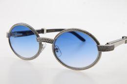 Black Diamond Full Australia - Wholesale White Inside Black Buffalo Horn Full Frame Diamond Glasses 7550178 Round Unisex designer Oval Sun Glasses Silver Blue Lens Size 55
