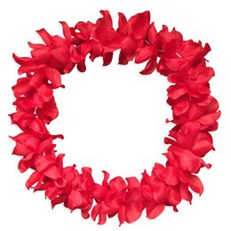 leis flowers UK - 5 Pcs Hawaiian Garland Necklace Flower Leis Fancy Dress Party Hawaii Beach Decor