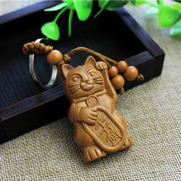 $enCountryForm.capitalKeyWord Australia - 2019 New Hot Lucky Fortune Cat Carving Wooden Pendant Keychain Key Ring Chain Wood Carving Ornaments Jewelry Accessories Gifts