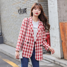 fitted suits for women Canada - long-sleeved plaid suit black red peplum button blazer for fashion girls plus size women Korean slim fit casual lady jacket