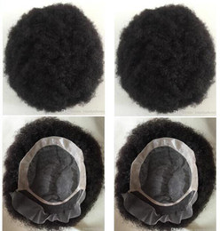 lace systems Canada - Men Hair System Afro Hair Toupee Men Hairpieces Lace Front Mono NPU Toupee Jet Black Chinese Virgin Remy Human Hair Replacement for Men