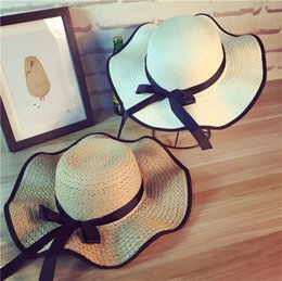 Wave Party Decorations Australia - Female hat spring and summer bow wave straw hat outdoor sunscreen sunhat brim female fashion Party hat T3H5007