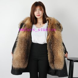short mink fur NZ - @mmfurs_studios Women's Mink-fur Liner Long Down parkas hooded with Extra 4XL Large Raccoon fur collar and plackets Sweden Norway