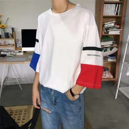 white shorts Australia - 2018 Summer Men's Fashion Trend Patchwork Round Collar Short Sleeves Cotton Black White Loose Casual T-Shirts Big Size S-5XL