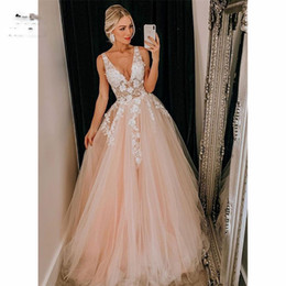 $enCountryForm.capitalKeyWord Australia - Vintage Illusion Sheer Lace New Prom Dresses Long A-Line Tulle Tank Deep V Neck Vestidos De Party Dresses Women Evening Dress