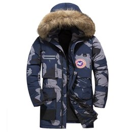 Wholesale jacket military resale online – Camouflage Down Jackets Mens Hooded Coat Male Fur Collar Winter Jacket Women Men Military Down Overcoat Long Parkas Canada Coats Breathable