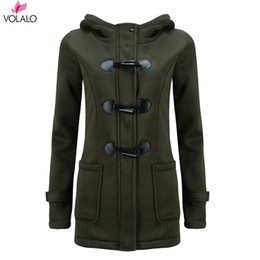 hooded wool winter coat womens UK - VOLALO Womens Winter Fashion Outdoor Warm Wool Blended Classic Pea Coat Jacket Women Horn Button With Zipper Clothes Hooded