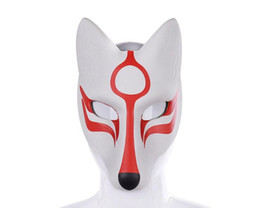 full face kitsune mask NZ - Cospty Carnival Masquerade Anime Cosplay Animal Pu Leather White Japanese Kitsune Fox Mask GB427