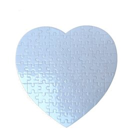 Thermal Supplies Australia - Blank Heart Shaped Picture Puzzle DIY Pearlescent Puzzles Thermal Transfer Valentines Day Gifts Paper White Flexible Hot Sales 2 4yd C1
