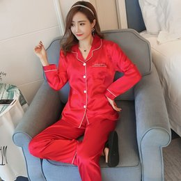 109b498ac5 Chinese red Silk Satin Pajamas Sets for Women 2019 Spring Autumn Long  Sleeve Pyjama Sleepwear Homewear Pijama Mujer Home Clothes