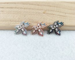 Micro Pave Connectors Australia - 10pcs CZ zircon Micro Pave maple leaf Connector,Double Bails Beads Charm,for DIY Bracelets Jewelry Finding CT340