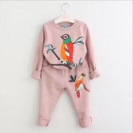 $enCountryForm.capitalKeyWord Australia - Fashion Design cartoon Little bird printed kids baby children girls clothing Casual trousers sweater suit 1 set