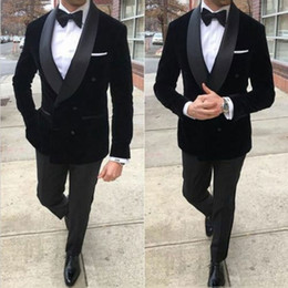 blue suit smoking NZ - Men Suits for Wedding Velvet Prom Groom Tuxedos Black Smoking Jacket Double Breasted Costume Homme Terno Masculino 2Piece trajes de hombre