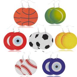 $enCountryForm.capitalKeyWord Australia - 2019 Fashion Leather Print basketball baseball Dangle Earring United And European Football Earring Jewelry