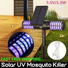 Solar Mosquito Killer Lamp Waterproof Villa Yard Garden LED Light Lawn Camping Lamp Large Bug Zapper Light Pest Control CCA11700 10pcs on Sale