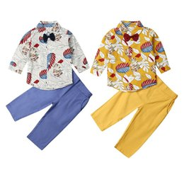 BaBy floral shirts online shopping - 2PCS Baby Boy Outfits Floral Shirt Top Pants Trousers Holiday Party Wedding Boys Clothes Set