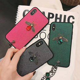 Soft Cell Phone Bling Cases Australia - Luxury Glitter 3D Diamond Bee Cases for iPhone XS Max Fashion Bling Soft Cases with Keychain for iPhone XR Cell Phone Cases