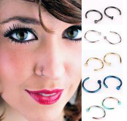 Venta al por mayor de Nariz moda suena la joyería Piercing joyas de moda nariz del acero inoxidable abierto del aro del anillo del pendiente Espárragos nariz falsa Anillos anillos no Piercing