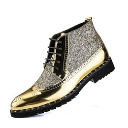 b53d93c1484 British style Sewing Martin Boots fashion men ankle boots short ankle flat  heel high-top casual Patent Leather rivet Sequins free shipping