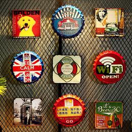 $enCountryForm.capitalKeyWord Australia - Vintage Industrial Wind Beer Bottle Cap Wall Bar Barbecue Shop Decoration Loft Creative Wall Decoration Tin Painting Cafe 35cm Y19061804