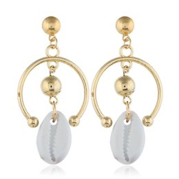 $enCountryForm.capitalKeyWord Australia - Sea Shell Earrings For Women Gold Silver Color Big Earring Metal Shell Statement Earring Summer Beach Jewelry