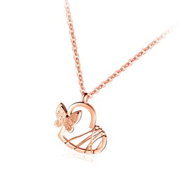 Necklaces Pendants Australia - Stainless Steel Butterfly Heart Pendant Necklace Women Romantic Jewelry Chain Brushed Pendant Rose Gold Necklace VICHOK