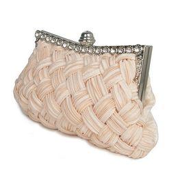 Chinese  Hot Fashion Diamond Women Evening Bag Weave Solid Cover Female Hand Bag Hard Versatile Handbag For Dinner Green Ring Bag 2019 manufacturers