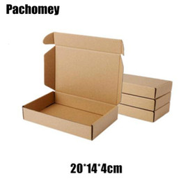 kraft paper food package box NZ - 10pcs lot 20*14*4cm Kraft Paper Bags Recyclable Gift Jewelry Food Bread Candy Packaging Shopping Party Package Mailing Box PP766 SH190920
