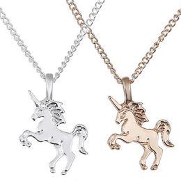 Necklaces Pendants Australia - Women Fashion Unicorn Pendant Necklace Lady Girl Popular Unicorn Alloy Pendants Jewelry Gift Simple Accessories RRA557