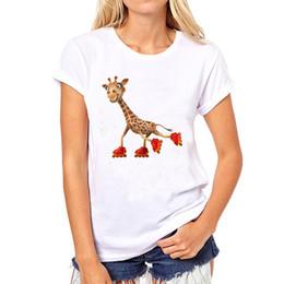 Roller M Australia - Roller t shirt Giraffe short sleeve tops Ice skating sport unisex fastness tees Colorfast print clothing Pure color modal tshirt