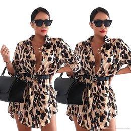 $enCountryForm.capitalKeyWord Australia - Women Leopard Designer Shirt Dress Single Breasted Stand Collar Long Sleeved Autumn Spring New Dresses