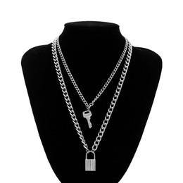 Padlock brands online shopping - 1pcs Hip Hop Rock Stainless Steel Chain Necklace Lock Key Pendant Necklace Couple Padlock Brand Jewelry Eternal Love