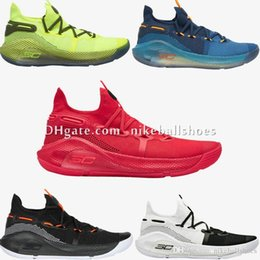 red white basketball shoes for men Australia - Cheap Men Currys 6 Basketball Shoes for Sale Black White Blue Yellow Red Birthday Grey Stephen Currys 6s High Tops Sneakers Boots With Box