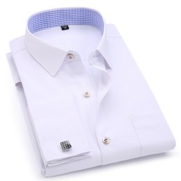 french blue shirts NZ - Men's Dress Shirts French Cuff Blue White Long Sleeved Business Casual Shirt Slim Fit Solid Color French Cufflinks Shirt
