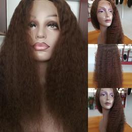 $enCountryForm.capitalKeyWord Australia - Kinky Straight Lace Front Wigs 150% Density Brazilian Human Hair Braided Wig For Black Women #1B #2 #4 Coarse Yaki Glueless Lacefront Wig