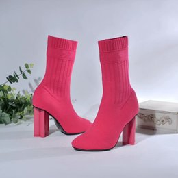 Red Suede Booties Women Australia - Rose Red Socks Boots Women Autumn Fashion Dress Heeled Booties Female Elastics Short booties Ladies Runway Casual Boots Zapatos Mujers