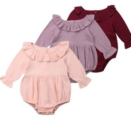 One Sleeve Ruffle Jumpsuit UK - New Arrivels Toddler Baby Girl Long Sleeve One Piece Romper Jumpsuit Summer Spring Ruffles Clothes Sunsuit Clothes