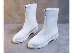 black white short boot Canada - Wholesale autumn short boots woman 2019 new flat zipper designer black white patent leather women Martin boots