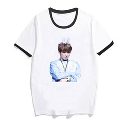 China bts tshirt women 2019 Print Shirts T-shirt female kpop Hip Hop k-pop fashion T Shirt Short Sleeve JIMIN JUNG Bangtan Boys top cheap hip hop pops wholesale suppliers