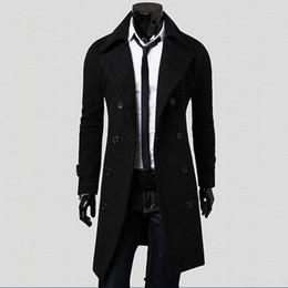 Wholesale men long coat resale online - Coat Men Winter Long Coat Slim Stylish Trench Double Breasted Long Jacket Parka Mens Overcoat