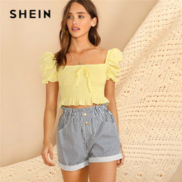 e0fc34b6fe1107 SHEIN Boho Yellow Knot Front Puff Sleeve Ruffle Detail Shirred Blouse Crop  Top Women Summer Square Neck Slim Fitted Cute Blouses