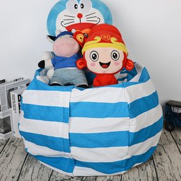 toy bean bags NZ - Stuffed Animal Plush Toy portable kids 17inch toy storage bag Bean Bag Soft Pouch canvas Stripe Fabric Clothes Organizer