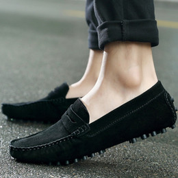Hotter Shoes NZ - HOT!! Men Casual Leather Loafers Black Solid Leather Driving Moccasins Gommino Slip on Men Loafers Shoes Male Loafers Big Size49