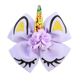 Baby Sequin Hair Clips Wholesale Australia - Lolita Accessories Kids Unicorn Sequin Bowknot Hairpins Baby Girls Reversal Paillette Hair Clip Children Bow Barrettes Hairclips Hairpins