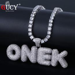 Necklaces Pendants Australia - Gucy A-z Custom Name Bubbleletters Pendant & Necklace Charm Men's Cz Hip Hop Jewelry With Gold Silver Tennis Chain J190620