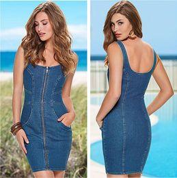 $enCountryForm.capitalKeyWord Australia - New Fashion Blue Denim Dresses Sleeveless U-Neck Zipper Dress Women Girls Mini Bodycon Dresses Summer Casual Sundress ZSJF0408