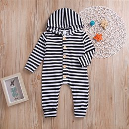 Toddlers onesies long sleeve online shopping - Spring Fall INS Toddler Baby Boys Hoodies Rompers Black White Stripes Jumpsuits Long Sleeve Front Wood Button Newborn Onesies for T