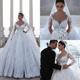 $enCountryForm.capitalKeyWord NZ - Luxury Arabic Wedding Dresses 2019 V Neck Lace Appliqued Beaded A Line Court Train Long Sleeve Country Wedding Dress Bridal Gowns Robes