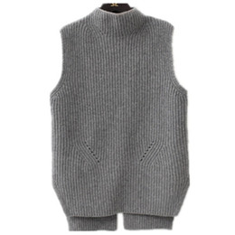 07be5546d Litvriyh primavera outono camisola de malha grossa mulheres pullover colete  de gola alta sem mangas pullover feminino mulheres camisola colete jumper